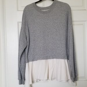 NSF NEW grey/white tiered sweater